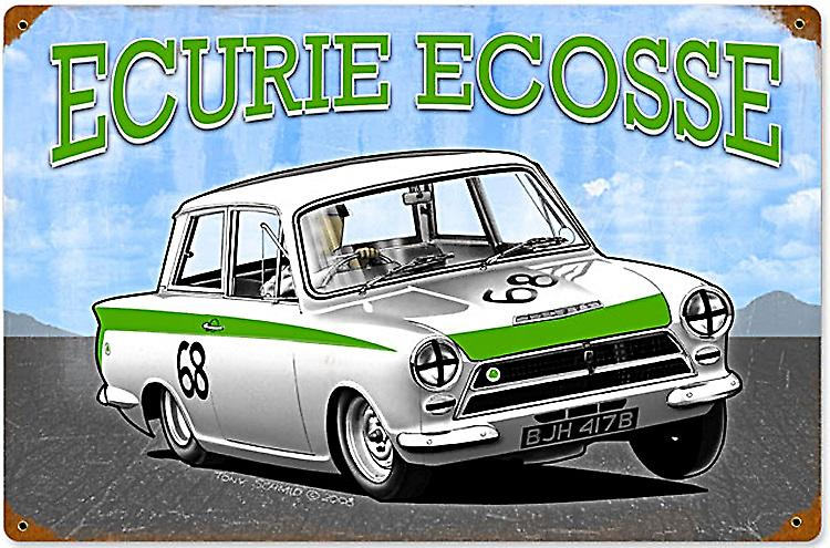 Ford Lotus Cortina Mk. 1 Ecurie Ecosse rusted steel sign  (pst 1812)