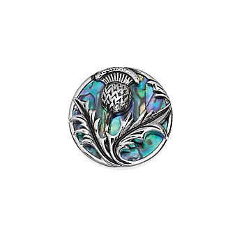 Eternal Collection Thistle Paua Shell Silver Tone Brooch