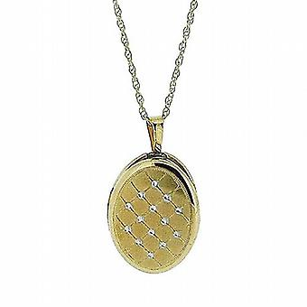 Toc 9 Carat Yellow Gold 16mm Quilted Oval Locket Pendant on 18