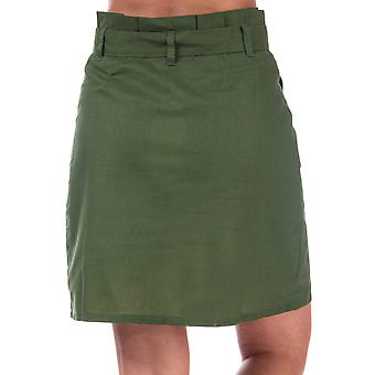 Womens Brave Soul Paperbag Button Through Skirt In Khaki