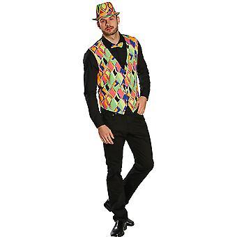 Neon vest Clownweste kleurrijke nar kostuum voor mannen