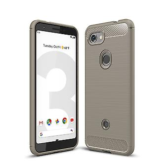 Google Pixel 3a TPU Case Carbon Fiber Optik Brushed Schutz Hülle Grau