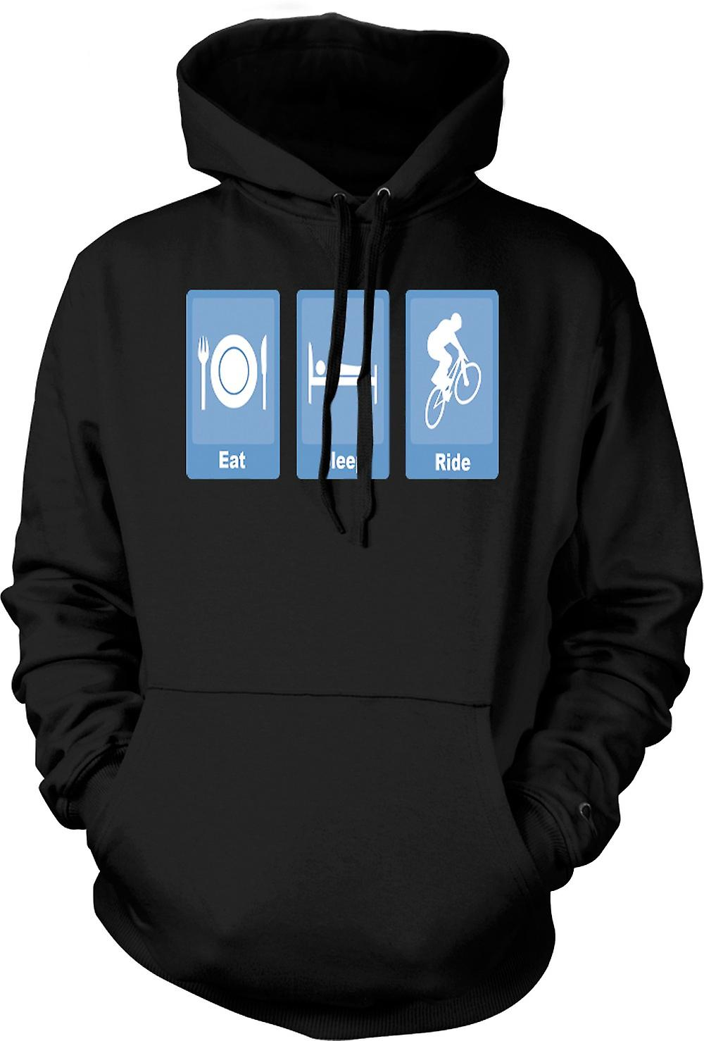 Mens Hoodie - Eat Sleep Ride - Biking