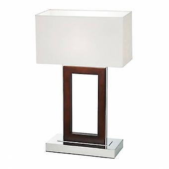 Lámpara de mesa de madera oscura, crema de ante sintético