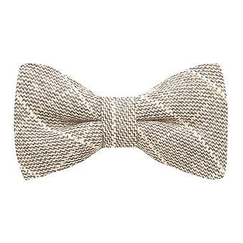 Beige Birdseye Check Bow Tie