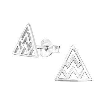 Triangle - 925 Sterling Silver Plain Ear Studs - W31743X