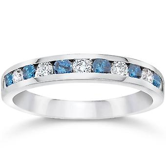 1/2ct Blue & White Diamond Channel Set Wedding Ring 14K White Gold