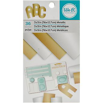 We R Memory Keepers Paper Pad 3 « X 5 »-or & argent feuille métallique, 36 feuilles WRP3X5-60895