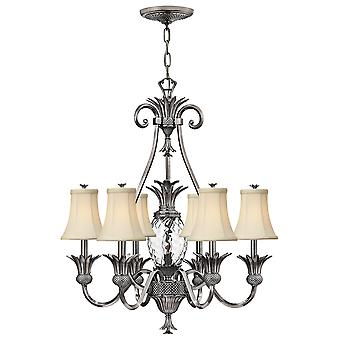 Plantation Traditional 7 Arm Chandelier with Pineapple Shaped Glass