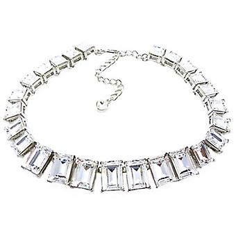 Kenneth Jay Lane Silver & Crystal Rectangular Headlight Necklace