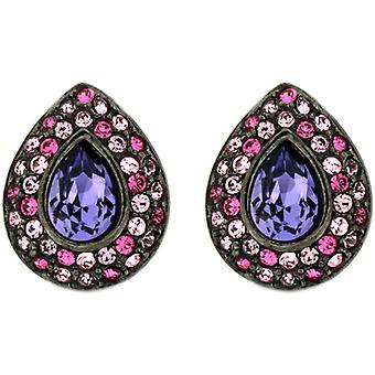 Kenneth Jay Lane Tanzanite Purple & Fuchsia Crystal Clip On Earrings