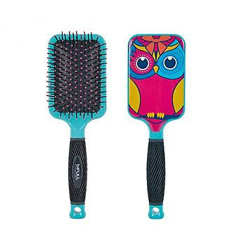 Bifull Turquoise Owl Brush Racket (Woman , Hair Care , Combs And Brushes , Hair Brushes)