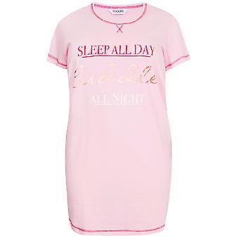 Pink Sleep All Day Cuddle All Night Print Nightdress