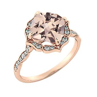 2.25 CTW natural peach/pink VS Morganite Ring with Diamonds 14k Rose Gold Flower Leaves Vintage