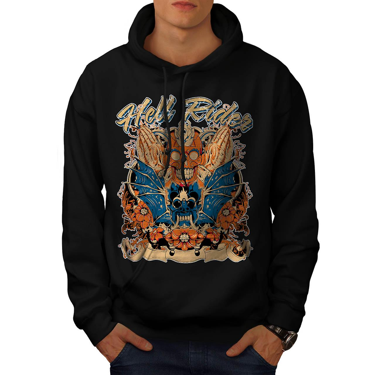 Hell Rider Samurai Warrior Mask Men Black Hoodie | Wellcoda