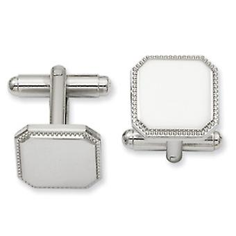 Rhodium-plated Square Beaded Cuff Links
