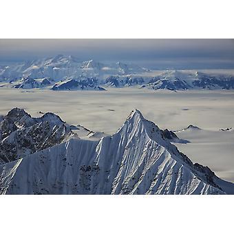 Flygfoto över bergen och icefields i Kluane nationalpark Yukon Kanada PosterPrint