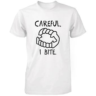 Careful I Bite Funny Men's Tshirt White Crewneck Graphic Tee for Halloween Funny Shirt