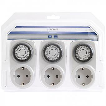 PROOVE Timer for indoor use 24 h Grounded contact 3-pack