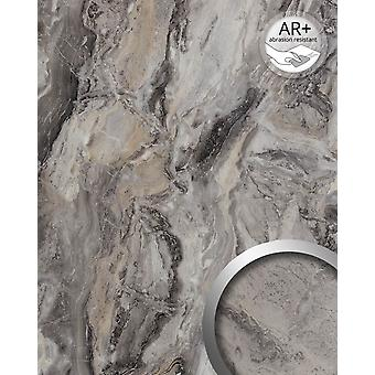 Wall Panel marble optics WallFace 19340 MARBLE ALPINE walls in natural stone look shiny smooth adhesive abrasion resistant grey brown 2,6 m2