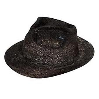 Glitter Gangster Hat nero