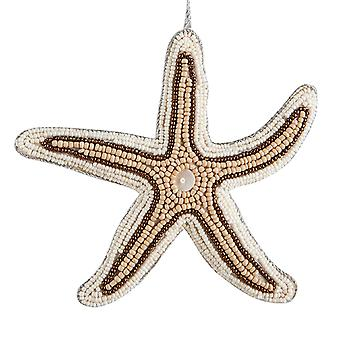 Bahamas Beaded Starfish 6 Inch Fabric Christmas Holiday Ornament