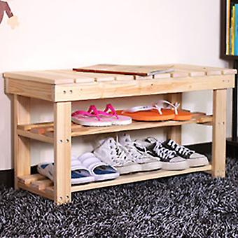 Bench - Solid Wood Slatted Storage Shelves / Seat / Bench - Natural