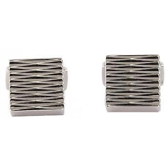 David Aster Square Links Zig Zag Cufflinks - Silver