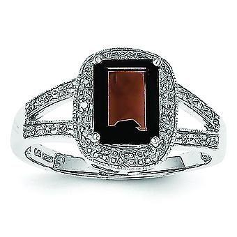 Sterling Silver Rhodium Emerald-cut Smokey Quartz and Diamond Ring - Ring Size: 6 to 8