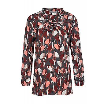 Ashley brooke by heine blouse ladies gray print blouse with Flamingo print