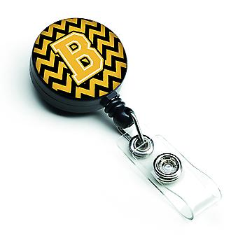 Letter B Chevron Black and Gold Retractable Badge Reel