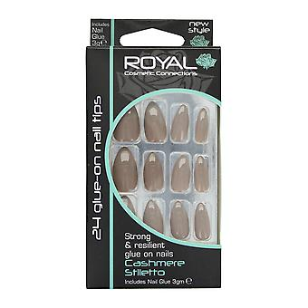 Royal 24 Glue-On Strong Full False Fake Nails Nail Tips Cashmere Stiletto