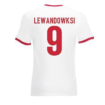 Robert Lewandowski Pologne Ringer Tee (blanc-rouge)