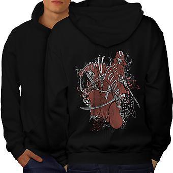Warrior Fantasy Katana mannen BlackHoodie rug | Wellcoda