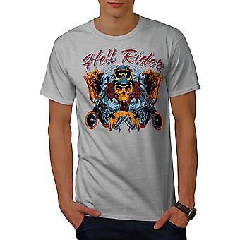 Skull Biker Reiten in Hölle Männer graut-Hemd   Wellcoda