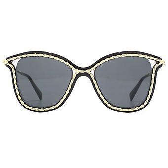 Marc Jacobs Metal Twist Cateye Sunglasses In Black