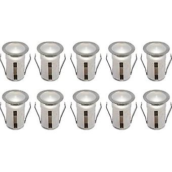 LED outdoor recessed light 10-piece set 8 W Cold white JEDI Lighting Helena LT31390 Stainless steel