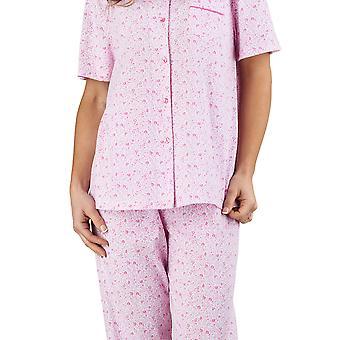 Slenderella PJ1104 женщин Ditsy цветочным розовый 100% хлопок Джерси пижамы для коротких рукавом пижамы набор