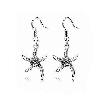Womens Silver Starfish Earrings Crystal Stone Unique BG1077E