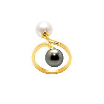 Perle Blanche and Tahitian Pearl ring and yellow gold 750/1000