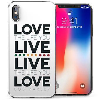 iPhonegeval X Live Life Love Bob Marley citeer TPU Gel