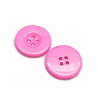 Packet 12 x Dark Pink Resin 28mm Round 4-Holed Sew On Buttons HA10275