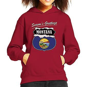 Seasons Greetings Montana Kid's Hooded Sweatshirt