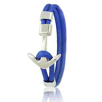 Skipper Anker Armband 21 cm Nylon Armschmuck in Blau mit Silbernem Anker 6959