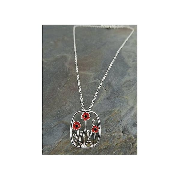 Union Jack Wear Poppy Pendant 3 Poppies On 45cm Silver Finish Chain
