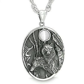 Mor og søn Wolf familie Amulet Moon Positive Woods hvid Cats Eye Protection vedhæng halskæde