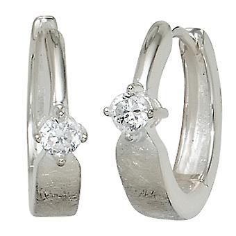 Hoop earrings 925 sterling silver rhodium plated part ice Matt 2 cubic zirconia earrings silver