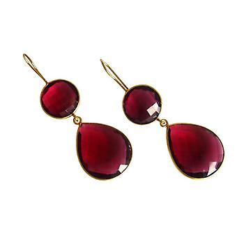 Ruby kvarts örhängen Rubin röd ädelsten örhängen röd silver guldpläterade