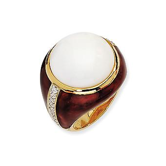 Gold-Flashed 925 Sterling Silver Enamel Brn Enam Simulated Wht Agate and Cubic Zirconia Ring - Ring Size: 6 to 8