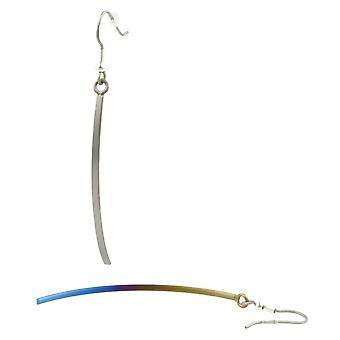TI2 Titanium lange Ohrringe - braun/blau